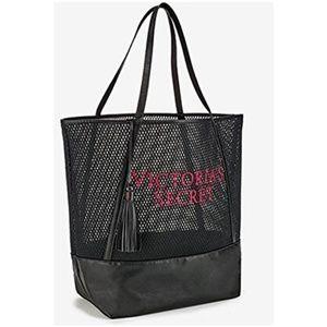 😄 Victoria Secret Large Mesh Black Tote Purse